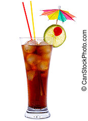 Cuba Libre Cocktail isolated on white