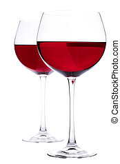Glasses of wine - Two Glasses of red wine over white...