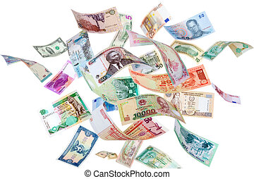Flying money from around the world - Falling Banknotes from...