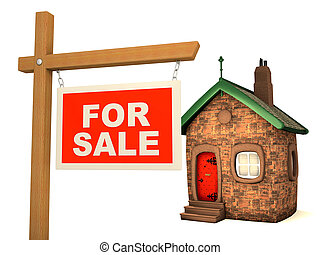 3D House and sign For Sale - Fun small House and red sign...