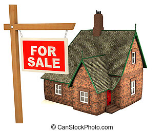 3D House and sign For Sale - Small house and red sign For...