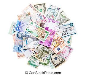 dinero, alrededor, mundo