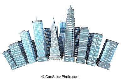Down Town - 3D office buildings on white background