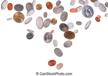 Falling American Coins - American coins isolated on white...