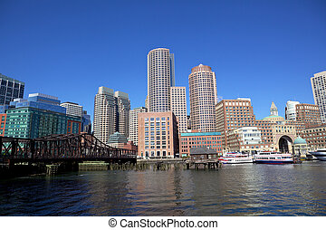 Boston Harbor - Boston Financial District, Massachusetts,...