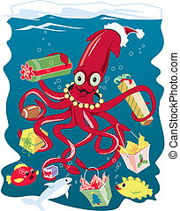 Santa Squid - A squid delivering Christmas presents to his...
