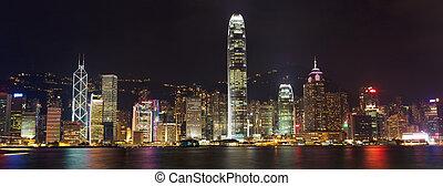 Hong Kong Island panorama - Hong Kong skyline at night over...