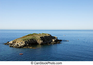 View of Ile rousse island and mediterraneen sea at Bandol on...