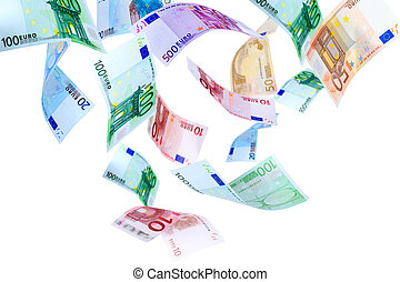 voando, Euro, Dinheiro