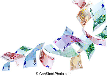 Flying Euro money - Falling Euro banknotes on a white...