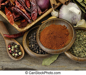 Spices Assortment - Assortment Of Spices On A Wooden...