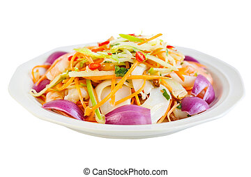 Seafood Salad - Dish of seafood salad with squid and shrimp