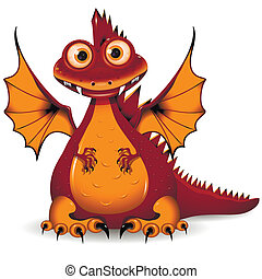 red Dragon - illustration, a funny red dragon, the symbol of...