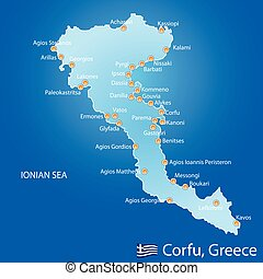 Island of Corfu in Greece on blue background