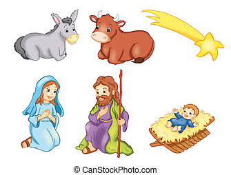 characters manger 2 - colored illustration of characters of...