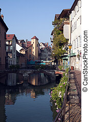 Annecy old town on a market day - Annecy medieval town and...
