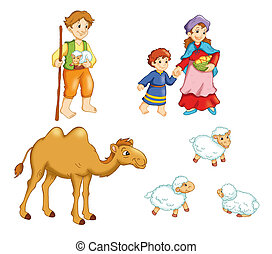 characters manger 1 - colored illustration of characters of...