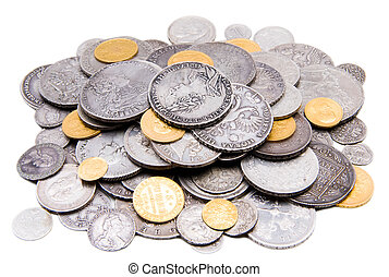 Heap of old gold and silver coins - Old russian gold and...