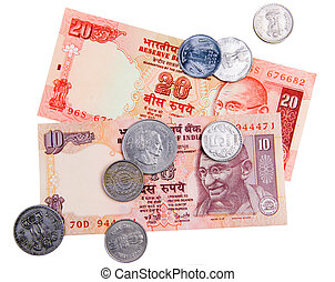 Indian currency cash - Indian banknotes and coins isolated...