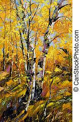 Birches in autumn wood