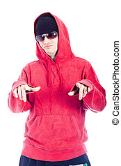 Hip Hop man pointing at you - Hip Hop man in red hoody...