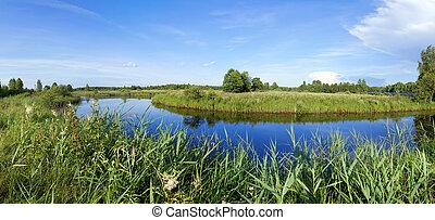 Beautiful panorama of the river of Berezina in Berezinsky...