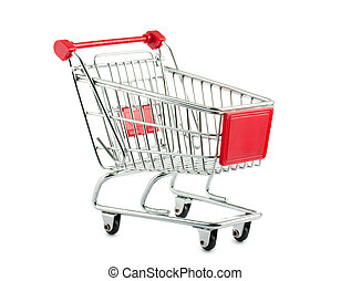 Empty shopping cart - Metal shopping cart isolated on white...