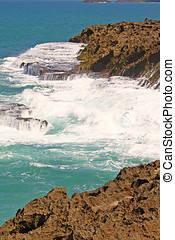 Sea Foam - Sea foam and textured rocks seascape , Caribbean...
