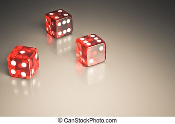 red dice on a smooth surface - detail of red dice on a...