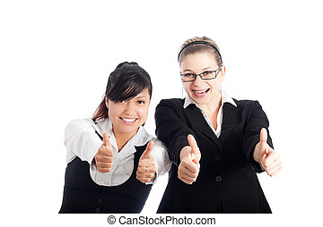 Happy business women thumbs up