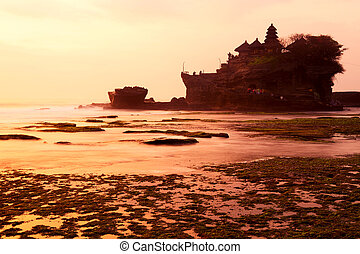 Tanah Lot temple at sunset. Bali island, indonesia