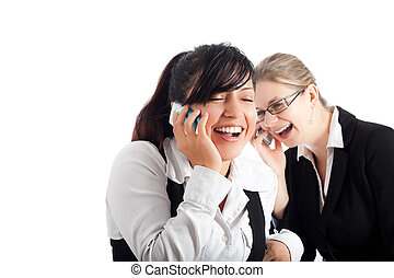 Happy business women on the phone