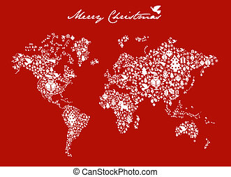 Christmas globe map concept - Merry Xmas with icon set in...