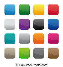 Blank square buttons - Collection of blank square buttons in...