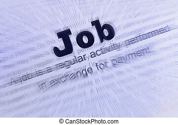 Job conception text - Text Job written on paper Job...