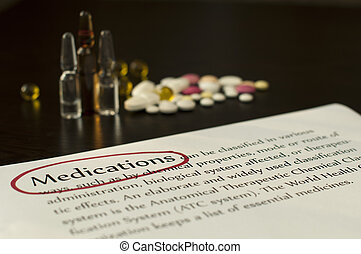 Drugs and paper with text medicationsRed marked