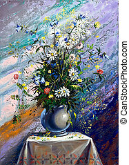 Bouquet of wild flowers in a vase