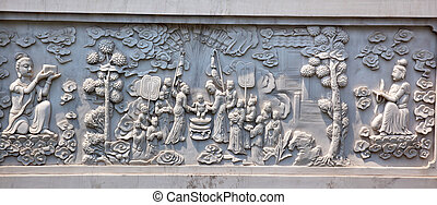 Stone Buddhist Panel Jing An Temple Shanghai China - Stone...