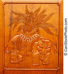 Wooden Elephant Panel Door Jing An Temple Shanghai China -...