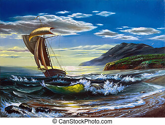 Sailing boat in the storm sea