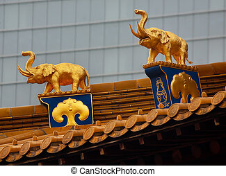 Gold Elephants Roof Top Jing An Temple Shanghai China - Gold...