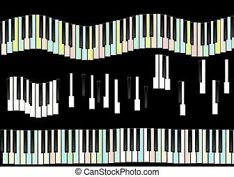 piano keys isolated on black
