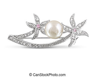 Silver brooch with pearl isolated on white
