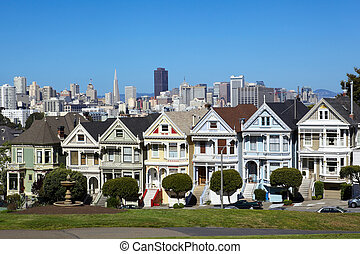 San Francisco - Alamo square and San Francisco skyline,...