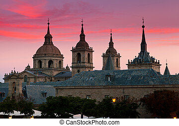 San Lorenzo de El Escorial Monastery , Spain at Dusk - San...