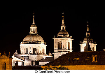 San Lorenzo de El Escorial Monastery , Spain at Night