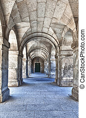 Series of Stone Arches Leading to a Door - Strong marble...