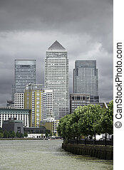 Canary wharf - Tower block offices at Canary Wharf, the new...