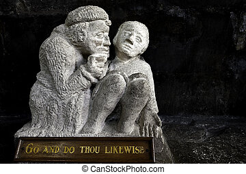 Good samaritan - A medieval stone carving of the Good...