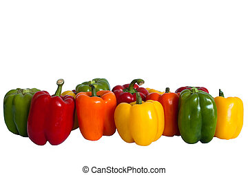Row of Bell Peppers - A medley of bright red, green, orange...